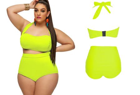 Plus Size high waist bikini nu slechts €19,95! Voor de maten 42/44 t/m 48/50 geel