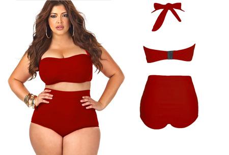 Plus Size high waist bikini nu slechts €19,95! Voor de maten 42/44 t/m 48/50 rood