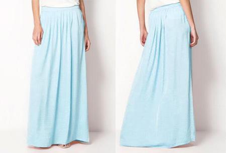 lichtblauwe lange rok