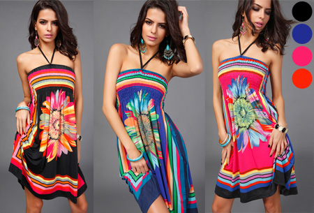 Strapless Flower jurk nu slechts €9,95!