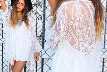 Kimono's in 9 mooie prints nu al vanaf slechts €9,95   Het ideale zomervest! #8 Lace White