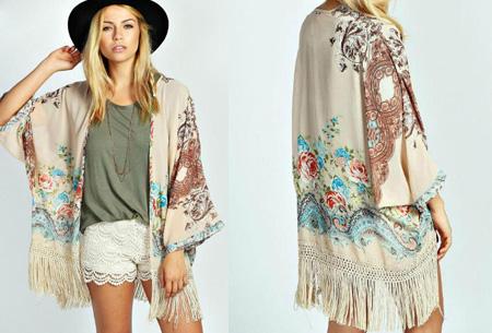 Kimono's in 9 mooie prints nu al vanaf slechts €9,95   Het ideale zomervest! #6 Beige Flower