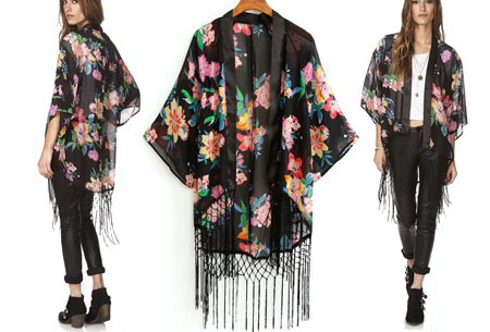 Kimono's in 9 mooie prints nu al vanaf slechts €9,95   Het ideale zomervest! #1 Black Flower