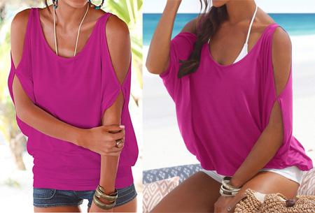 Open shoulder batwing shirt - Paars - Maat XS/S