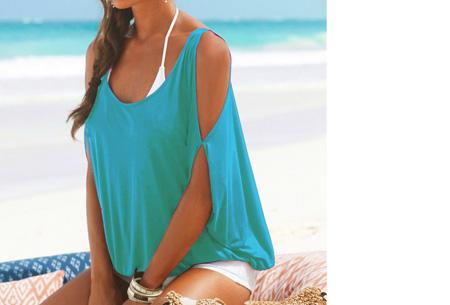 Open shoulder batwing shirt - Blauw - Maat S/M