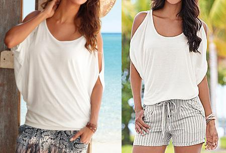 Open shoulder batwing shirt - Wit - Maat M/L