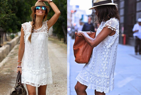 Pompon Lace tuniek | Voor een stijlvolle bohemian look wit