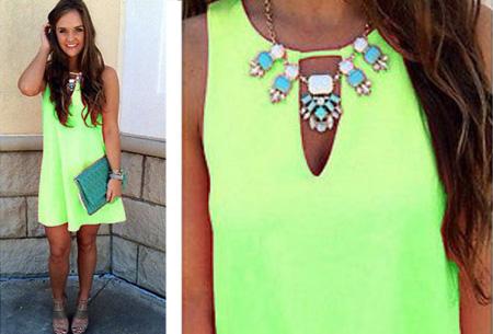 Candy Color jurk  | Kleurrijk zomeritem!  Groen