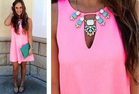 Candy Color jurk  | Kleurrijk zomeritem!  Roze