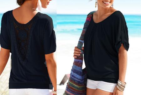 Lace Back shirt | Verkrijgbaar in de maten XS t/m 5XL Zwart