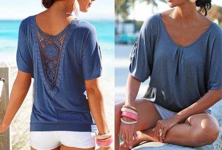 Lace Back shirt | Verkrijgbaar in de maten XS t/m 5XL Grijsblauw