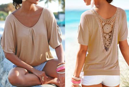 Lace Back shirt | Verkrijgbaar in de maten XS t/m 5XL Khaki