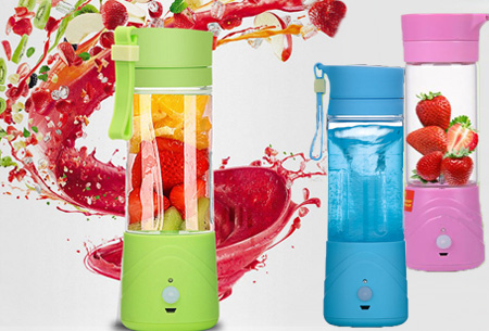 Draadloze Blender bottle, drinkfles en blender in één!