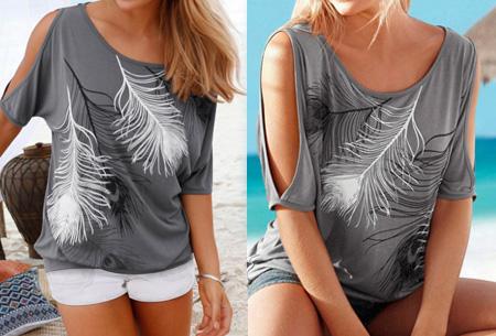 Open shoulder feather shirt | Leuke en stijlvolle top voor een spotprijs Grijs