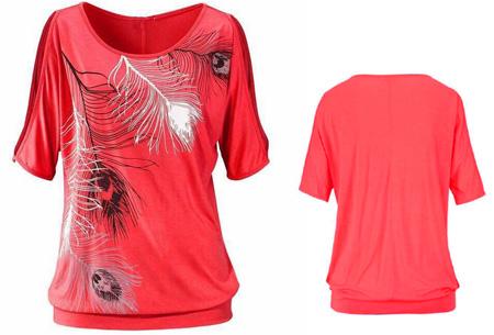 Open shoulder feather shirt | Leuke en stijlvolle top voor een spotprijs Rood