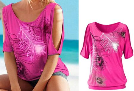 Open shoulder feather shirt | Leuke en stijlvolle top voor een spotprijs Roze