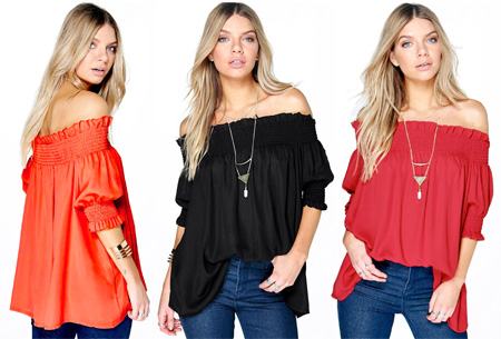 Off shoulder tuniek nu slechts €11,95!