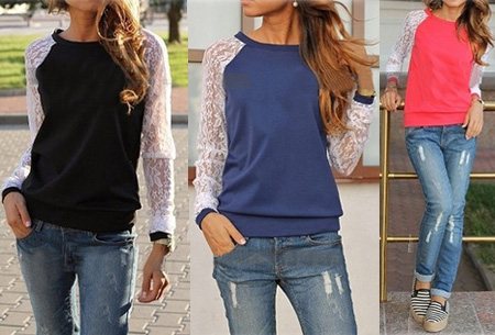 Lace sleeve sweater nu slechts €8,95