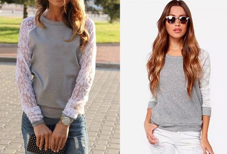 655f19b03869aa Lace sleeve sweater nu slechts €8