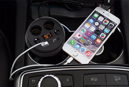 Auto cupholder oplader met Dual USB & Dual 12V aansluiting nu slechts €9,95!