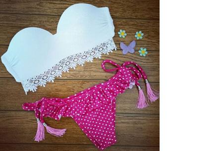 Brazilian bandeau bikini   Keuze uit 11 gave designs #6 Lace white pink