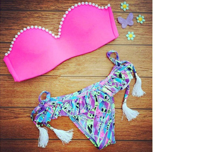Brazilian bandeau bikini   Keuze uit 11 gave designs #7 Pink pearl