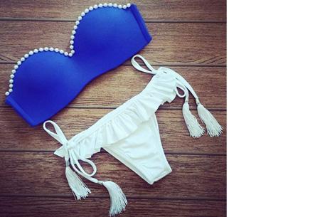 Brazilian bandeau bikini   Keuze uit 11 gave designs #8 Blue pearl