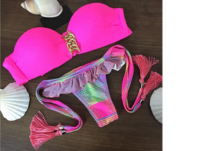 Brazilian bandeau bikini   Keuze uit 11 gave designs #9 Pink