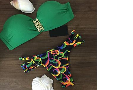 Brazilian bandeau bikini   Keuze uit 11 gave designs #11 Green heart
