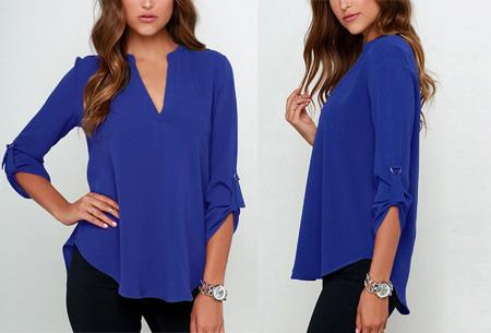 Classy blouse | Stijlvolle wannahave voor elk figuur! donkerblauw