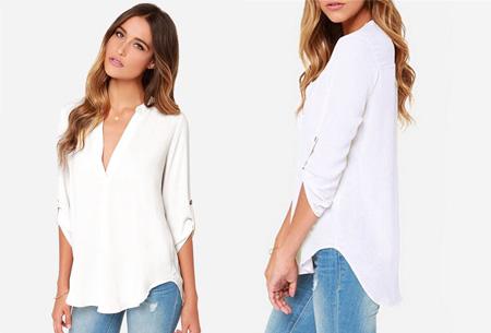 Classy blouse | Stijlvolle wannahave voor elk figuur! wit