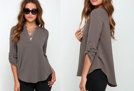 Classy blouse | Stijlvolle wannahave voor elk figuur! grijs