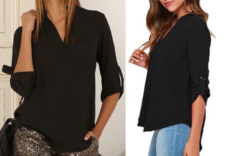 Classy blouse | Stijlvolle wannahave voor elk figuur! zwart