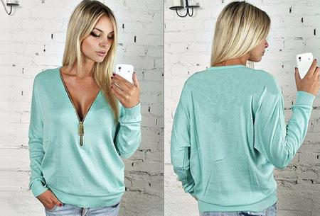 Sweater met rits | Stijlvol en comfortabel in één! Blauw