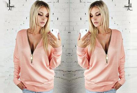 Sweater met rits | Stijlvol en comfortabel in één! Roze