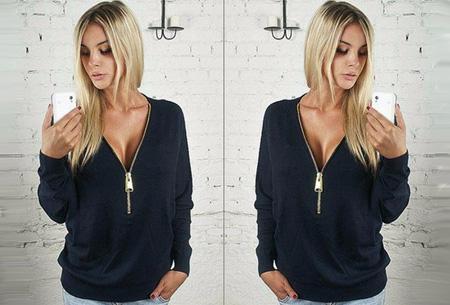 Sweater met rits | Stijlvol en comfortabel in één! Zwart