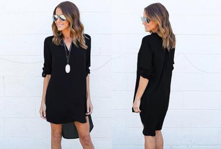 Stylish blouse Maat M (NL maat XS) - Zwart + Donkerblauw