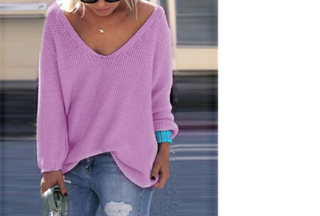 Comfy v-neck trui | Comfortable & trendy wannahave! Paars