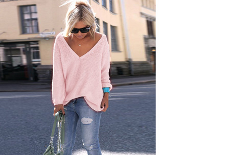 Comfy v-neck trui | Comfortable & trendy wannahave! Roze
