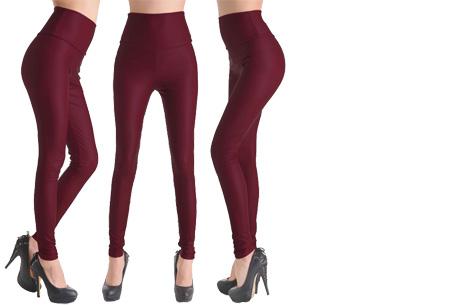 Leather Look legging   Voor een trendy look! Burgundy