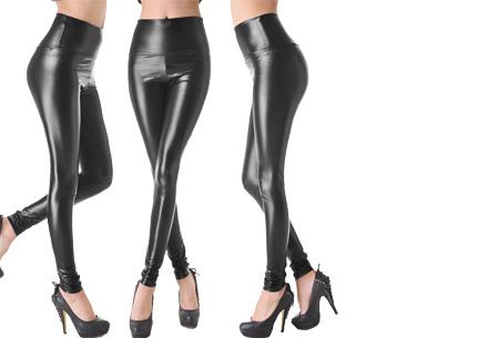 Leather look legging Maat XS - Lak zwart