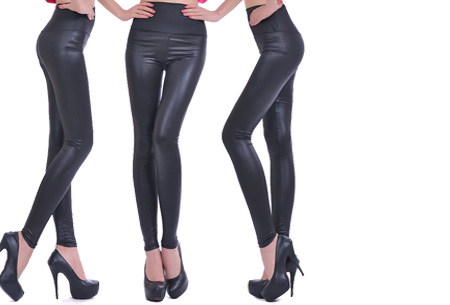 Leather Look legging | Voor een trendy look! Satijn zwart