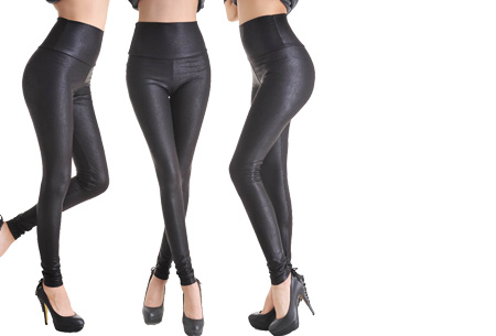 Leather Look legging | Voor een trendy look! Snake zwart