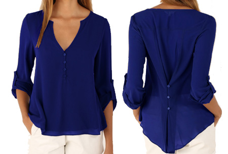 Casual v-neck blouse | Stijlvolle blouse voor jong & oud Donkerblauw