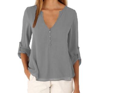Casual v-neck blouse | Stijlvolle blouse voor jong & oud Grijs