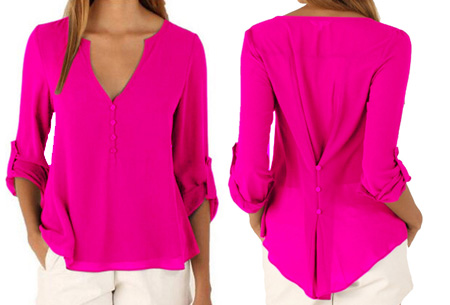 Casual v-neck blouse | Stijlvolle blouse voor jong & oud Roze