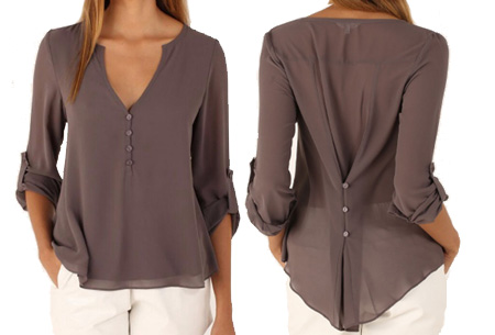 Casual v-neck blouse | Stijlvolle blouse voor jong & oud Taupe