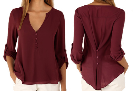 Casual v-neck blouse | Stijlvolle blouse voor jong & oud Wijnrood