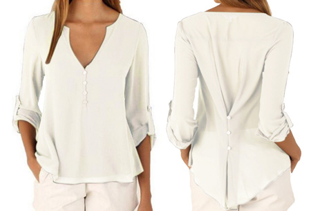 Casual v-neck blouse | Stijlvolle blouse voor jong & oud Wit