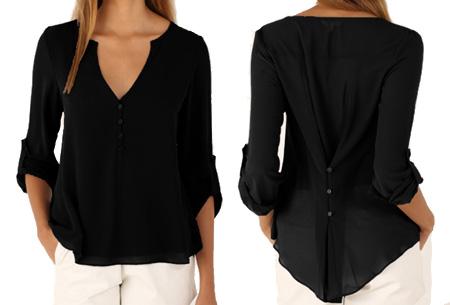 Casual v-neck blouse | Stijlvolle blouse voor jong & oud Zwart